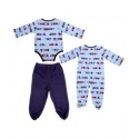 3 piece baby painted suite /blue and white