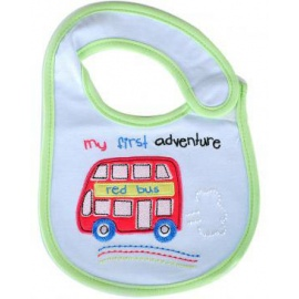 my first adventure baby bib blue