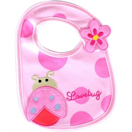 beetle love bug baby bib pink