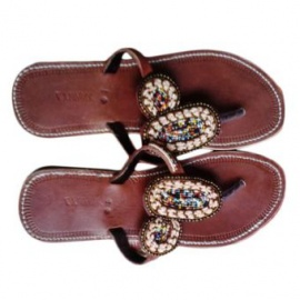 Hand Crafted Beaded Slippers - Brown