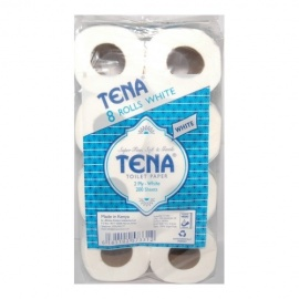 Tena white toilet paper (8 rolls)