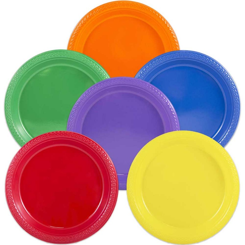 buy round plastic disposable plates 7inch 25pack pieces each online