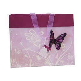 Butterfly Bag with flocked butterfly  Pink
