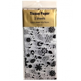 Tissue Paper Printed 3 sheet Retro Floral