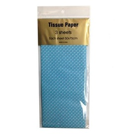 Tissue Paper Printed 3 sheet White Dots on Blu
