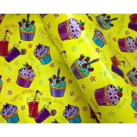 Wrapping Paper 500mm x 60M Happy Birthday Cup