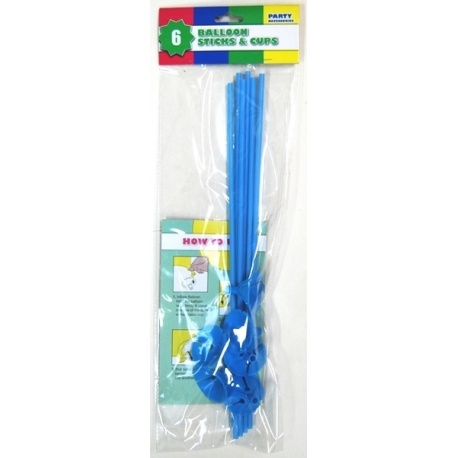 6 x Balloon Stick & Cup  30cm  Light Blue