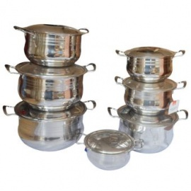 Set Of 7 Elerambe Stainless Steel Dishes