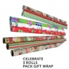 Celebrate 3 Rolls pack gift Wrap