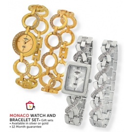 Monaco Watch and Bracelet gift set each