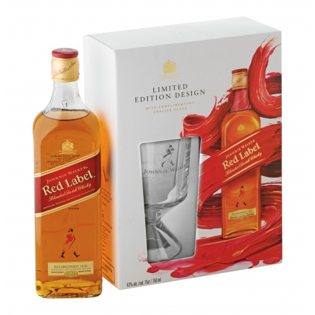 J W GIFT PACK RED LABEL SCOTCH WHISKY 75CL