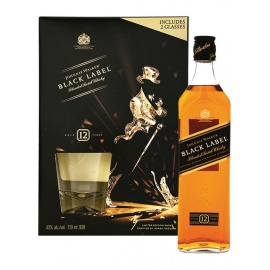 J W GIFT PACK BLACK LABEL SCOTCH WHISKY 75CL