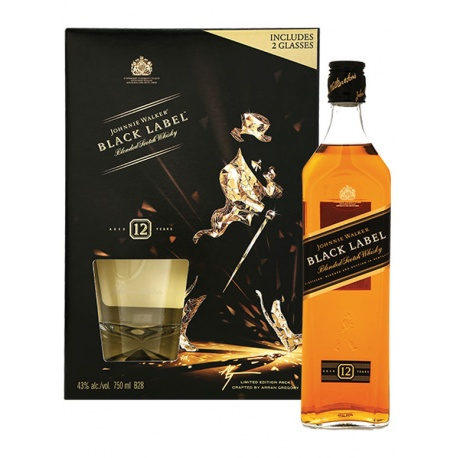 buy j w gift pack black label scotch whisky 75cl online. Black Bedroom Furniture Sets. Home Design Ideas