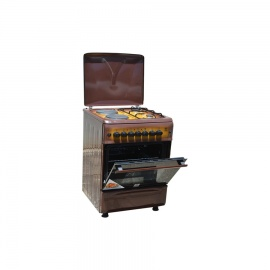 Mika 2 Gas Burner & 2 Electric Hot Plate with Oven & Grill Brown