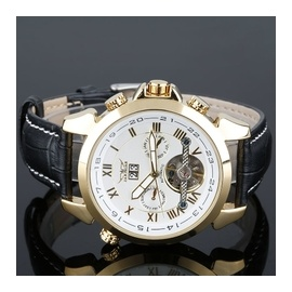 Men Luxery Man Auto Mechanical Date Tourbillon Wrist Watch Gold white