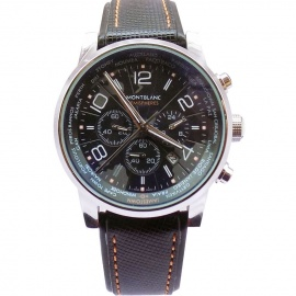 MONTBLANC Face Men's Watch With Chromes,Date & Leather Strap  Black