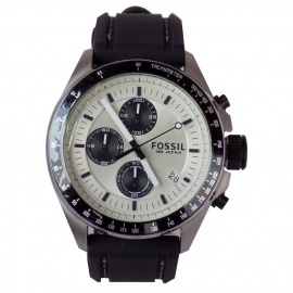 FOSSIL Cream & Black Face Men's Watch With Rubber Strap Rubber