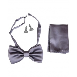 Lewin Set of Bow Tie, Cummerbund & Cufflinks Grey