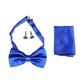 Lewin Set of Bow Tie, Cummerbund & Cufflinks Blue