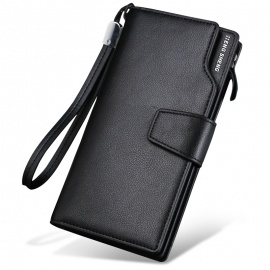 Men's Long Wallet Business Casual Leather Black