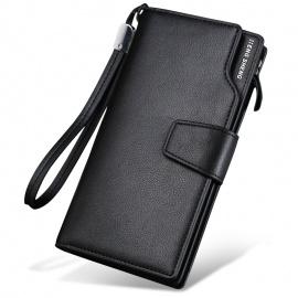 Men's Long Wallet Business Casual Leather Black
