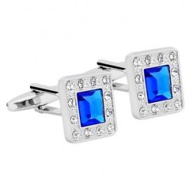 Silver Men's Cufflink Blue